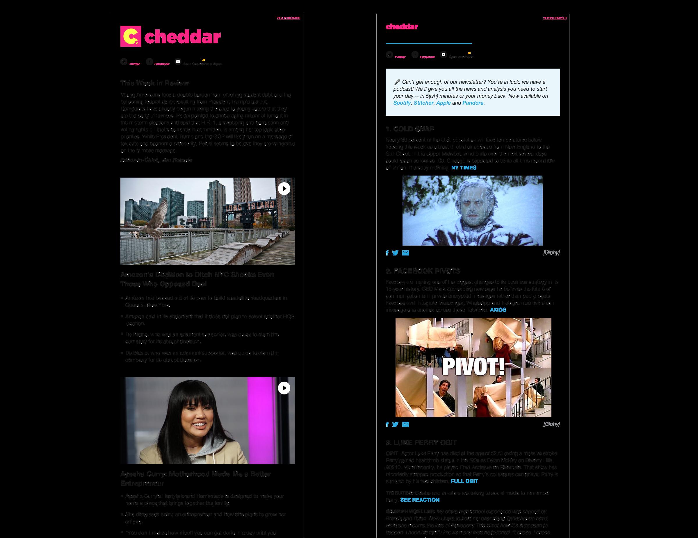 cheddar newsletters